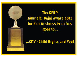 CRY wins the Jamnala Bajaj Award for fair business practices